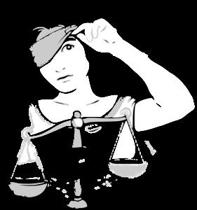 Justizia hat nur das rechte Auge verbunden